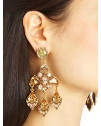 Oscar de la Renta - Metallic Swarovski Crystal Chandelier Earrings - Lyst
