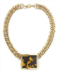 Jaeger | Metallic Tortoiseshell Resin Necklace | Lyst