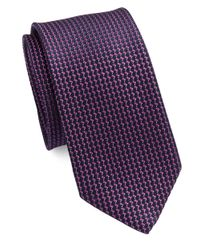 Calvin Klein | Purple Textured Dash Silk-rich Tie for Men | Lyst