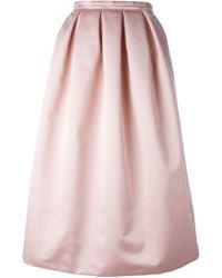 Rochas Pink Box Pleat Waist Full Skirt