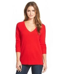 Halogen | Red V-neck Lightweight Cashmere Sweater | Lyst