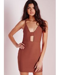 Missguided Brown Strappy Plunge Bodycon Dress Rust