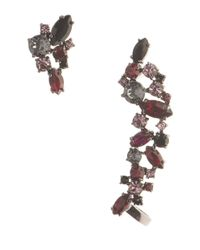Marchesa Red Drama Stone Stud And Crawler Earring Set