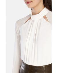 Karen Millen | White Draped High Neck Blouse | Lyst