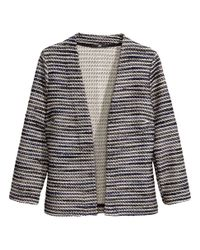 H&M - Black Cardigan In A Textured Knit - Lyst