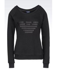 Armani Jeans - Black Cotton Sweatshirt - Lyst