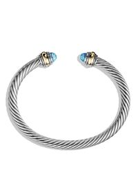 David Yurman   Cable Classics Bracelet With Blue Topaz And Gold   Lyst
