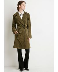 Forever 21 | Green Contemporary Genuine Suede Belted Trench Coat | Lyst