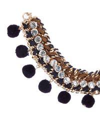 River Island | Metallic Gold Tone Pom Pom Statement Necklace | Lyst