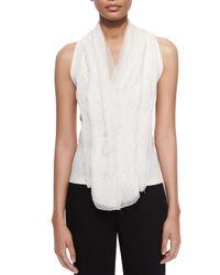 Donna Karan White V-Neck Drape-Front Top