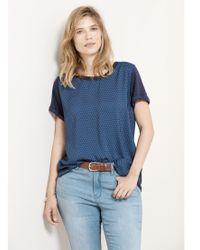 Violeta by Mango Blue Printed Panel T-shirt