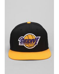 e5957ccbe09 Men's X Mitchell Ness Lakers Upsidedown Snapback Hat