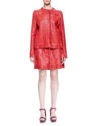 Lanvin - Red Woven Leather Fringe Skirt - Lyst