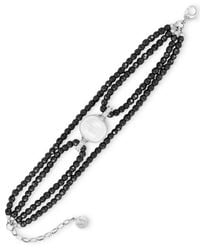 Majorica | Black Sterling Silver Hematite Bead And Man-made Pearl Four-row Bracelet (16mm) | Lyst