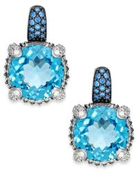 Macy's | Blue Topaz (8-3/4 Ct. T.w.) And Swarovski Zirconia Accent Earrings In Sterling Silver | Lyst