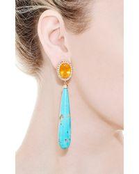 Andrea Fohrman | Blue One Of A Kind Fire Opals Rosecut Diamond Earrings | Lyst