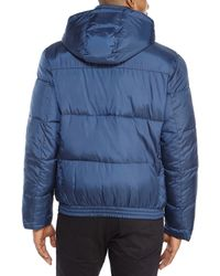 Cole Haan - Blue Hooded Puffer Jacket for Men - Lyst