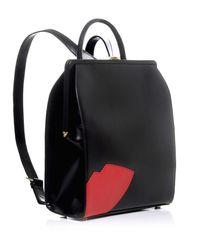 Lulu Guinness - Black Abstract Lips Eva Backpack - Lyst