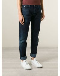 Emporio Armani - Blue Faded Slim Fit Jeans for Men - Lyst