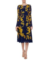 Oscar de la Renta Blue Navy And Yellow Embroidered Lace Dress