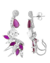 Pori - Purple 18k White Gold Plated Sterling Silver Fuchsia Teardrop Twist Jacket Earrings - Lyst