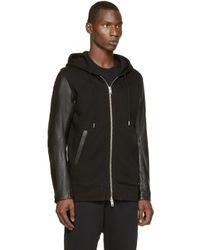 DIESEL Black Leather L-mifun-1 Hoodie for men