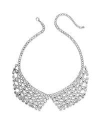 Material Girl | Metallic Silvertone Rhinestone Bib Necklace | Lyst