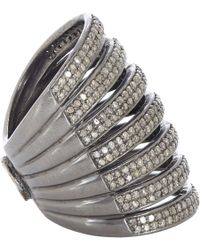 Carole Shashona - Black Diamond  Oxidized Silver Lotus Seven Blessings Cage Ring - Lyst