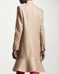 Stella McCartney Brown Flounce hem One button Coat Camel