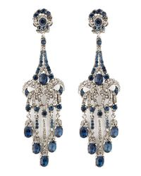Jose & Maria Barrera | Blue Crystalencrusted Teardrop Earrings | Lyst