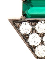 Nikos Koulis | Metallic Diamond, Emerald & White-Gold Earrings | Lyst