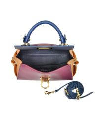 Ferragamo - Metallic Small Sofia Color Block Leather Shoulder Bag - Lyst