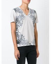 Just Cavalli Gray Printed V-neck T-shirt for men
