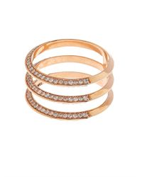 Ileana Makri Metallic Diamond & Rose-Gold Triple-Band Ring