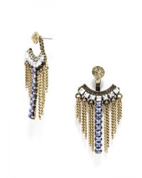BaubleBar Metallic Tanzanite Warrior Fringe Ear Jackets