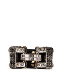 Lanvin | Metallic 'dahomar' Crystal Leather Hinge Bracelet | Lyst
