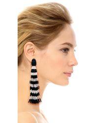 Oscar de la Renta - Blue Striped Tassel Earrings - Black/White - Lyst