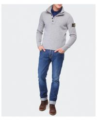 Stone Island - Gray Buttoned Wool Sweater for Men - Lyst