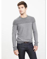 Banana Republic   Gray Striped Extra-fine Merino Wool Crew Pullover for Men   Lyst