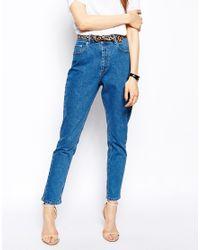 ASOS Farleigh High Waist Slim Mom Jeans In Clean Mid Wash Blue