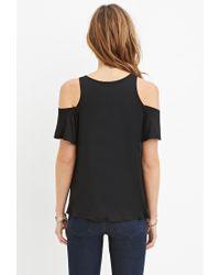 Forever 21 - Black Open-shoulder Top - Lyst