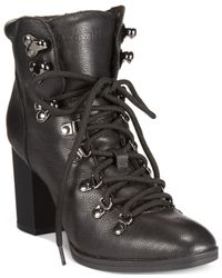 Calvin Klein | Black Women's Evee Lace-up Booties | Lyst