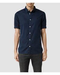 AllSaints - Blue Redondo Half Sleeved Shirt for Men - Lyst