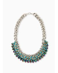 Mango - Metallic Crystal Chain Necklace - Lyst