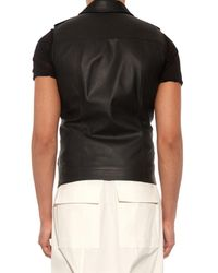 Rick Owens Black Stooges Sleeveless Leather Jacket for men