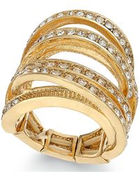 INC International Concepts | Metallic Gold-Tone Crystal Pavé Wrap Stretch Ring | Lyst