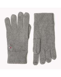 Tommy Hilfiger - Gray Wool Cotton Blend Gloves for Men - Lyst