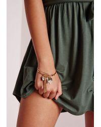Missguided | Metallic Tassel Charm Bracelet Gold | Lyst