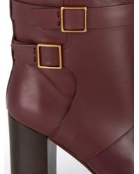 Tod's Purple Leather Block-Heel Boots