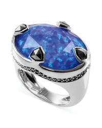 Judith Jack | Sterling Silver Blue Opal Doublet 1545 Ct Tw and Marcasite 1320 Ct Tw Ring | Lyst